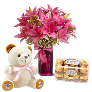 Flowers Bouquet with teddy and chocolates