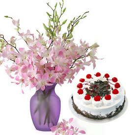 Orchids in glass vase,  1 kg cake