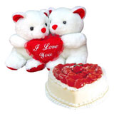 2 teddies 6 inch each, 1 kg heart shape strawberry