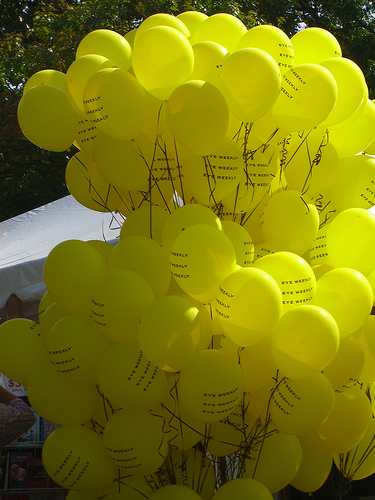 Yellow blown balloons