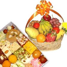 fresh fruit basket with mithai