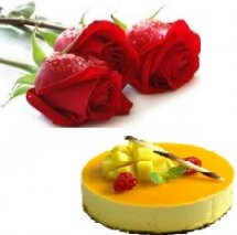 Fruit cake 1 kg with 3 roses