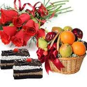 2 pastries and 12 roses bunch and 3 kg fruits
