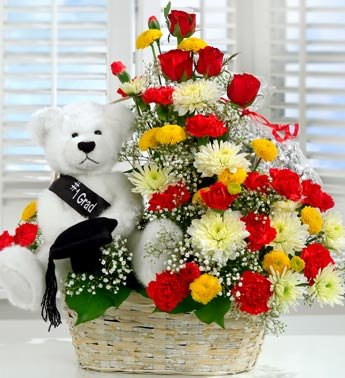 Teddy in Basket with Red and white Flowers