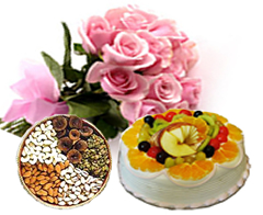 1/2 kg Dry fruits and 12 Pink Roses with 1/2 Kg Fresh fruit Cake