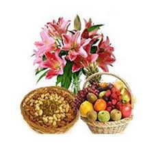 1/2 kg Dryfruits and 6 Pink lilies with 2 Kg Fresh fruits basket