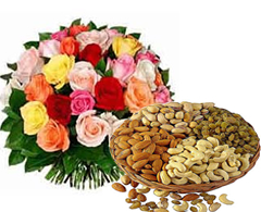 1/2 kg Dry fruits Basket and 18 mix roses bouquet