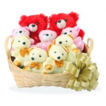 8 Teddy bears (6 inches each) in a Basket