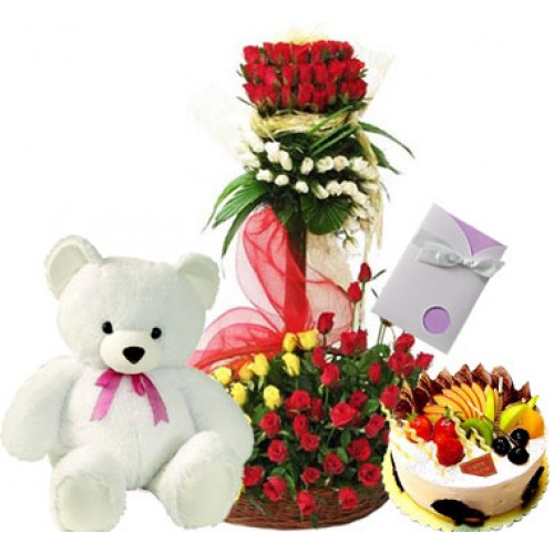 4 feet of 100 Mix Roses 2 feet teddy 1kg cake and greeting card