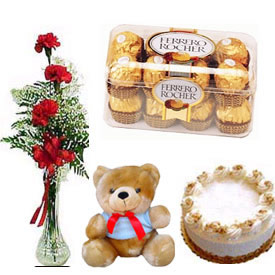 3 roses in a vase with 1 pound cake, chocolates and teddy