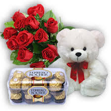 12 Red Roses 16 Ferrero rocher and 6 inches Teddy