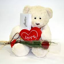 6 inch teddy with card, heart and single rose