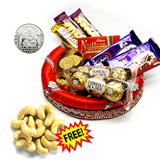 Chocolates in a decorated tray and 250 gm cashews free