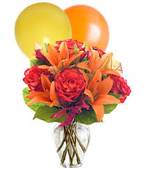 10 air blown balloons with lilies basket