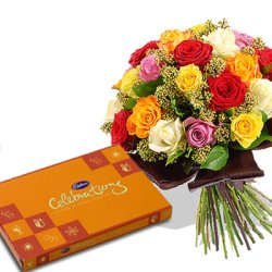 Mixed flowers with chocolate box