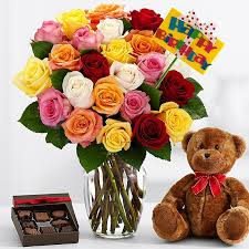 Flowers with teddy and chocolates