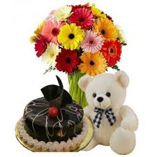 10 mix gerberas, 1/2 chocolate cake and teddy