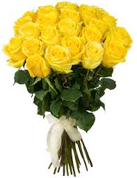10 Yellow roses in a bouquet