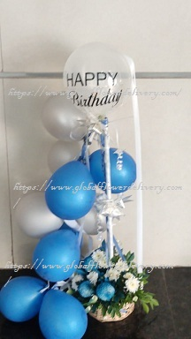 Blue silver air balloons arrangement with roses and happy birthday balloon