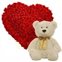 A heart of 36 Red Roses with 12 inches Teddy bear