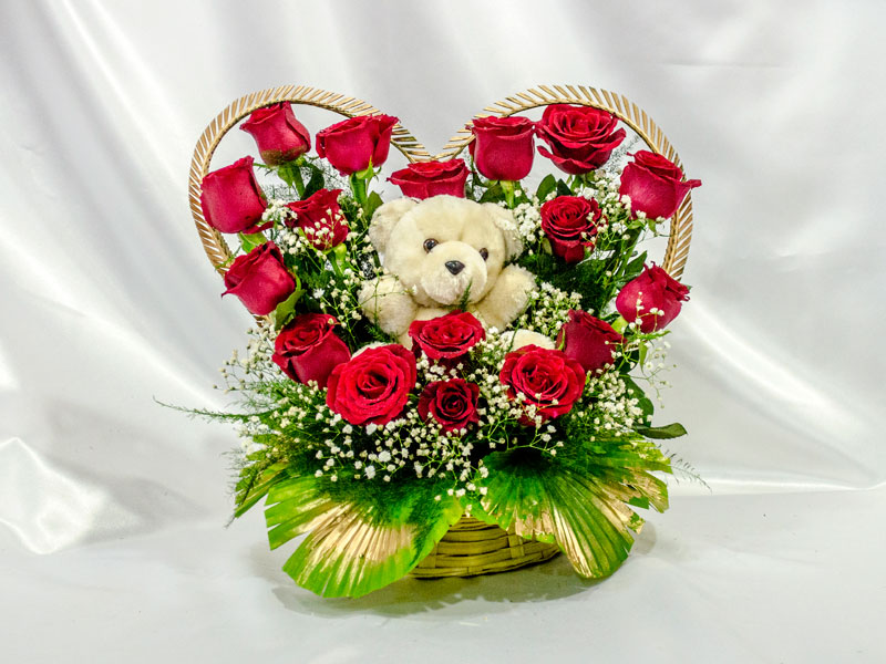 24 Red Roses heart with Teddy in middle of basket