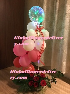 Led Light balloon Pink red white air balloons arrangement with roses For Pune Mumbai Dehradun