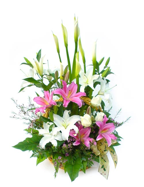 Pink and white lilies basket arrangement