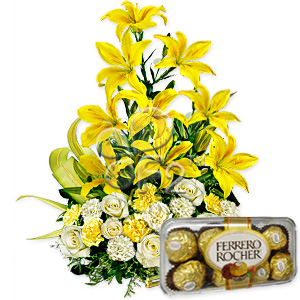 Lilies and ferrero rocher chocolates