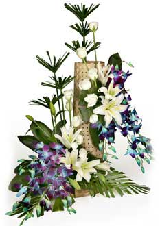 Lily roses and orchids arrangement
