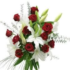 White Lilies and red roses bouquet