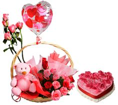10 Pink Roses Pink teddy in a basket 1 Kg heart Strawberry cake 1 Pink Balloon