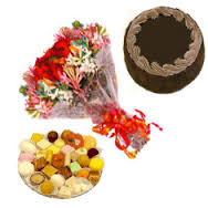 Half Kg Mix Barfi with 1/2 Kg Chocolate Cake and 12 Mix flowers bouquet