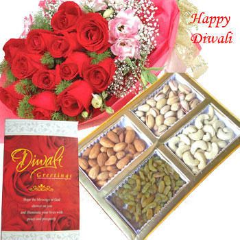 mixed dry fruits box and bunch of 10 mixed color roses along with roli and tikka.