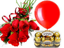 6 red roses hand tied with 1 red balloon and 16 ferrero rocher chocolates