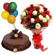 5 Air Balloons 1 2 Kg Cake 18 Mix Roses Hand Tied