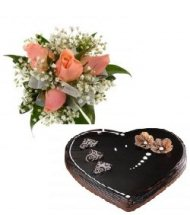 Heart Shaped Chocolate 1 kg with 4 pink roses hand tied