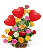 15 Mix roses basket with 3 Air filled Red heart Balloons