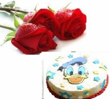 Donald cake 2 kg with 2 roses free
