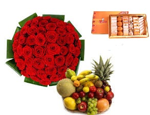 50 roses bunch 1/2 kg sweets and 3 kg fruit basket