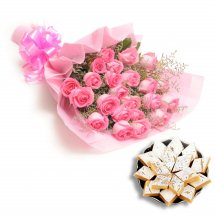 1/2 Kg. kaju Barfi and 12 pink roses