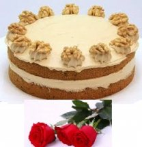 walnut cake 1/2 kg with 5 roses free delivery