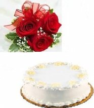 1 kg white forest cake with 5 roses