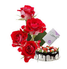 Card Half Kg chocolate cake and 6 Red Roses