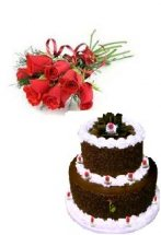 2 kg 2 tier oreo cake with 8 red roses hand tied
