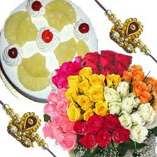 100 roses bunch and 1 kg cake with 2 rakhis