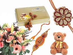 Flowers, celebration chocolate box with teddy and 2 rakhi