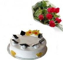 1 kg eggless Pineapple Cake and 4 roses