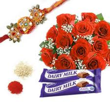 Chocolates with roses rakhi