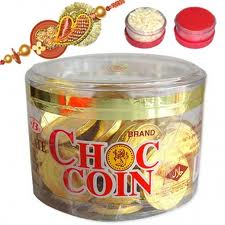 Chocolate coins with rakhi