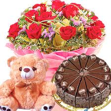 1/2 kg Cake and 12 red roses bouquet with teddy FREE rakhi
